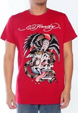NEW Ed Hardy Men's Red Short Sleeve Tee Shirt - BATTLE RHINESTONES - made in USA