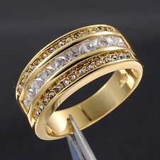 Jewelry Size 9-13 Classic Men's White Sapphire Stone 10KT Gold Filled Band Ring