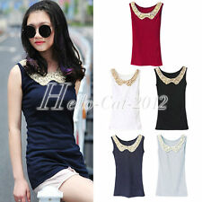 Fashion Sequin Crochet Lace Cotton Casual Sleeveless Cami Tank Tops Vest T-shirt