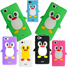 For Sony Xperia J ST26i Stylish Penguin Silicone Rubber Soft Skin Case Cover