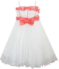 Girls Dress White Pleated Tank Bridesmaid Wedding Flower Girl Size 4-8 Pageant