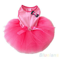Fashion Pink Tulle Tutu Dress Clothes Clothing For Small Pet Dog 2 Bowknots BD4U