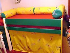 Custom Made Twin Low Loft Bed with matching accessories, Chair,Cushions, Mattres