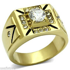 1.85ct Clear Round CZ Stone 18kt Gold EP Mens Ring New