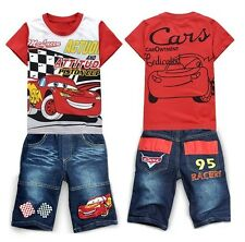Toddlers Kids Boys Girls Cars Lightning McQueen T-shirt+Jean Shorts Suits 2-8Yrs
