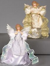TRADITIONAL SILVER GOLD FAIRY ANGEL CHRISTMAS XMAS TREE TOPPER DECORATION 20CM