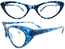 'GIDGET' 50's 60's vintage style CAT EYE reading glasses BLUE+1.25 to +3.00