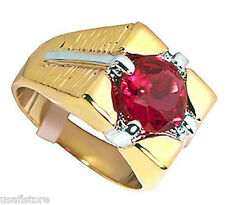 Mens 6.40ct Ruby Red Two Tone 18kt Gold EP Ring