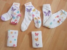 NWT GIRLS GYMBOREE BUTTERFLY BLOSSOMS TIGHTS, SOCKS SZ 0-6 MONTHS, 3-4, 10-12