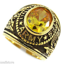 US Army Yellow Simulated Topaz Military 18kt Gold Plated Ring Size 14