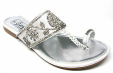 Silver Beaded Sequined Braided T-Strap Toe Ring Bridal Wedding Sandals Size 5-11