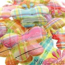 *U PICK*100-120 pcs Gingham/Plaid Butterfly applique padded animal insect fabric