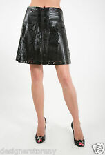 House of Harlow 1960 Arla Faux Leather Skirt Laser Cut w/Front Zip