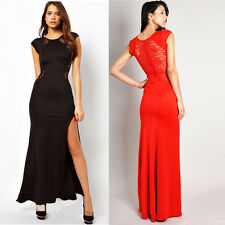 Women See-through Splicing Lace Open Side Split Long Maxi Dress Party Evening