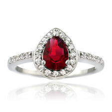 925 Silver Created Ruby & White Sapphire Teardrop Ring