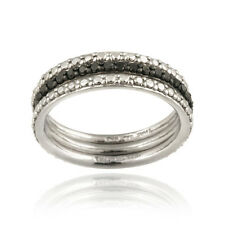 925 Silver Black Diamond Accent Stackable Eternity Band Rings Set
