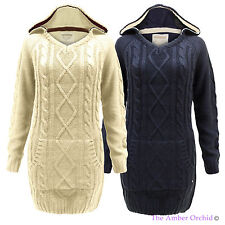 NEW LADIES HOODED CABLE KNITTED CHUNKY TOP WOMENS PULLOVER SWEATER JUMPER 10-18