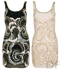 NEW WOMENS LADIES CHIFFON SLEEVELESS TOP SEQUIN BEADED VEST SHIFT DRESS 8-18