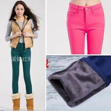 Ladies Warm Fleece Lined Thick Winter Pencil Pants Strechy Slim Jeans Trousers