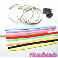 "*U PICK* 4-10 set Felt Headband Fabric Cover 9/16"" 15mm + Plastic Hair Band kit"