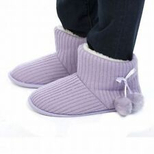 Ladies Sweater Knit Slipper Boots Choose Color Ribbed Fuzzy Lined Bootie Pom Pom