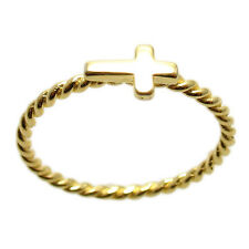 14K Gold over Sterling Silver Simple Twist Band Cross Ring Size 6-8