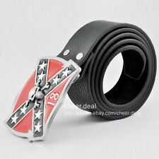 States Flag Confederate Skull Lucky 13 Pirate Cross Star Buckle Leather Belt