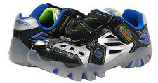 "Skechers Youth NEW ""Hot Lights"" 90470L Black Silver Blue Light Up Shoes SIZES"