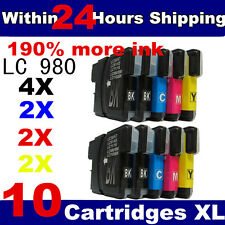 10 Compatible LC980 / LC1100 Ink Cartridges for Brother Printers Black + Colour