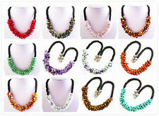 C253 Beautiful Mixed Gemstone Freeform Chips Beads necklace 19 inch