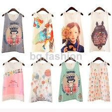 8 Styles Cute Girl Women Chiffon SUMMER Cami Tank Vests Casual Top Blouse Shirt