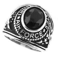 Mens Black US Air Force Military Silver Rhodium Plated Ring