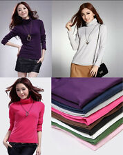 Women Fashion Sexy Candy Color Joker Turtle Neck Long Sleeve Base Shirt Tops
