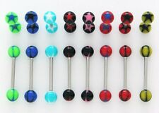 SURGICAL STEEL & PLASTIC UV STAR TONGUE BAR BARBELL. 14G. 5/8''. CHOOSE COLOUR