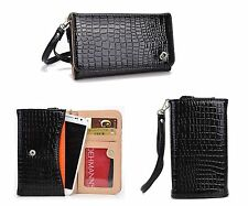 Kroo Fab Croc PU Leather Chic Smartphone Wrist-Let Cover Pouch Bag Guard BLK Ink