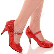 Dorothy Red Glitter Mary Jane Pumps High Heel Shoes