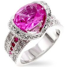 Silver Cocktail Ring Pink Tourmaline Cubic Zirconia CZ Plus Size 8 9 USA Seller