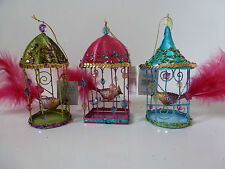 Gisela Graham Bird in Velvet and Sequin Cage Christmas Decoration 16cms 3 asst