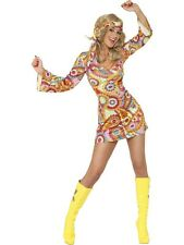Adult 1960's 70's Hippy Chick Flower Fancy Dress Costume Ladies Womens Female BN