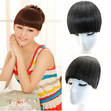 New Clip On Clip In Front Hair Neat Bangs Fringe Hair Extension Straight 3 Color