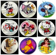 40mm Disney Cartoon Mother Of  Pearl Disc Pendant Bead - Choose Character