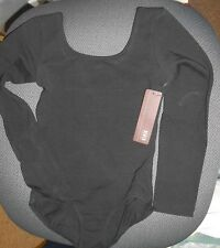 NWT Bloch BLACK LONG SLEEVE LEOTARD CL5409 L5409 Cotton Spandex lined frontlined
