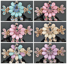 Color optional Crystal Charm Peacock Hair Clip Claw Barrette for Gift FS146