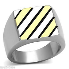 Mens Two Tone Gold Plated Line & Silver Stainless Steel Ring