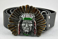 Vintage Western Mens American Native Indian Chief Removable Belt Leather Buckle