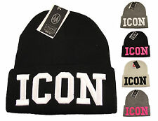 ICON Beanie Hat With Knitted Logo, Designer Black Logo Hats, Limited Edition