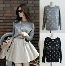 Fashion Woman Sweater eye pattern print Girl Long Shirt Casual Jumper Outerwear