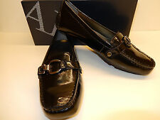 NEW AK ANNE KLEIN GRANDLEY BLACK PATENT TEXTURED UPPER MAN MADE LOAFERS WITH BIT