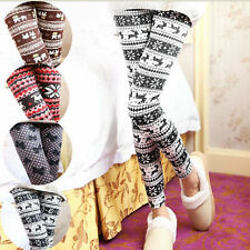 Fashion XMAS Knitted Elastic Snowflake Reindeer Tights Pants Trousers Leggings