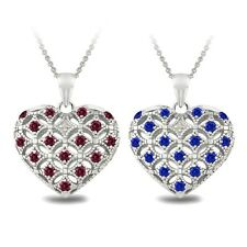 925 Silver Created Gemstone & Diamond Accent Heart Locket Necklace - 2 Colors